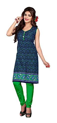 Nakoda Women's Cotton Straight kurta (208stitched--L, Blue, Large)  available at amazon for Rs.149
