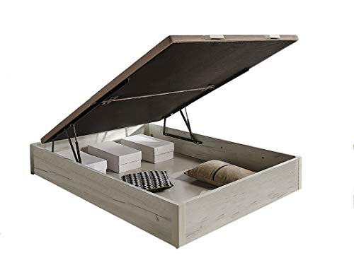 HOGAR 24 Canapé Abatible de Madera de Gran Capacidad Tapa 3D Transpirable, Color Blanco Vintage, 135x190cm