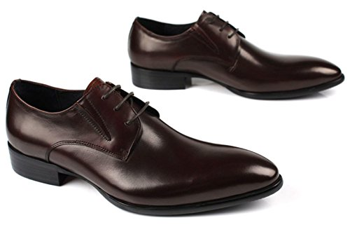 GRRONG Chaussures En Cuir Pour Hommes Daffaires Robe Formelle Pointu brown