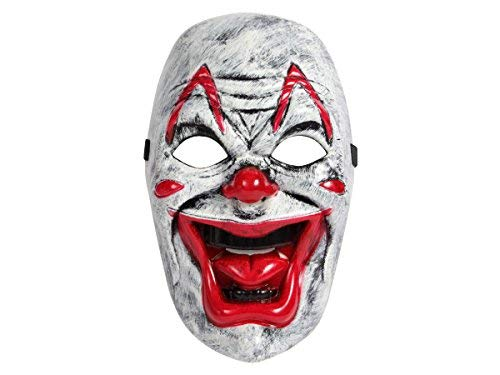 Clown MAS-41 Blut Gruselmaske Angst rote große Lippen weiß schwarz Falten Zähne Halloween ()