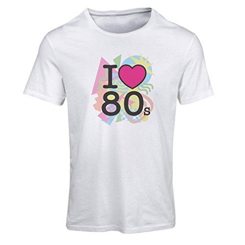 Frauen T-Shirt Ich liebe 80er Konzert t-shirts Weinlese Kleidungs Musik t-shirts geschenke (Medium Weiß (Jahre Jungs 80er Für Outfit)
