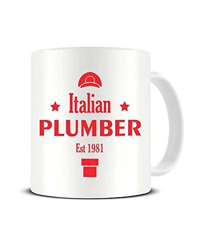 Keramik-Kaffeetasse, Motiv: Italienischer Klempner EST 1981 - Super Mario Bros - tolle Geschenkidee Funky NE Ltd