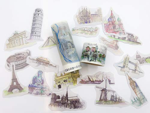 World Travels Washi Tape und Aufkleber-Set 3 Rollen, 42 Aufkleber für Scrapbooks, Basteln, Wal Paper Bordüren, Custom Cards und Party Dekoration (Wale Supplies Party)