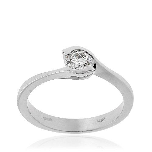 Gioiello Italiano - Solitario in oro bianco e diamante 0.37ct
