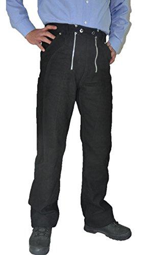 Fuente Zimmermannshose Lederhose Herren lang - Lederhose Damen lang- Lederjeans- Echt Leder, Lederhose Jeans 501 Schwarz- Motorrad Lederjeans- Reithose Leder-Schwarz (38, Schwarz) -