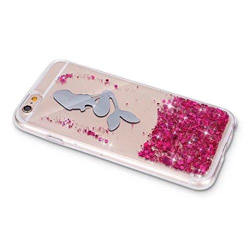 Etsue pour iPhone 6,iPhone 6S Coque de Téléphone,Mode Doux TPU Case Housse pour iPhone 6,iPhone 6S,Sur Fond Noir avec paillette sur intérieur Coque Glitter Motif Soft Silicone Case étui shell pour iPh Rouge