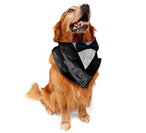 NANELER Hunde-Hochzeits-Smoking Fliege Halstuch, Halstuch, mit verstellbarem Kragen, für Partys und Halloween, One Size, Marineblau