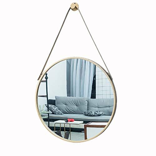 -Up-Spiegel Schminkspiegel Nordic Wand Badezimmerspiegel mit Eisengürtel, Schminkspiegel, Kosmetikspiegel, Rasierspiegel, Metallrahmenspiegel, runder Waschraumspiegel (30/40/50/60 ()