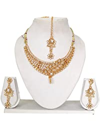 Vipin Store Sliver & Golden Stone With White Pearl Beads Gold Plated Jewelery Set