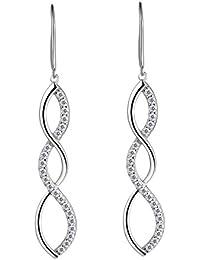 Aurora Tears Women Dangle Earrings Elegant 925 Sterling Silver CZ Teardrop Eardrop NV7Sx
