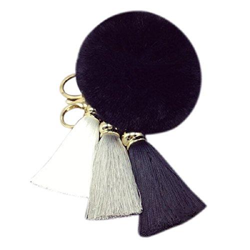 Imitieren Kaninchen-Pelz Ball Schlüsselanhänger, Amison hübsch Quaste Auto Schlüsselanhänger Handtasche Zubehör Schlüsselbund (Schwarz) (Leder-quaste Dekorative)