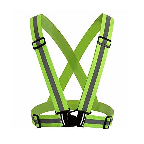 Rycnet - giubbotto di sicurezza con cinghie riflettenti elastiche e regolabili, ideale come regalo di capodanno, fluorescent green