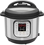 Instant Pot DUO60 7-in-1 Multi-Use Programmable Pressure Cooker, Black/Chrome, 5.7 L (6-Quart), INP-112-0027-0