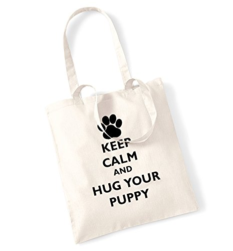 Keep calm and your hug puppy tote bag Natural