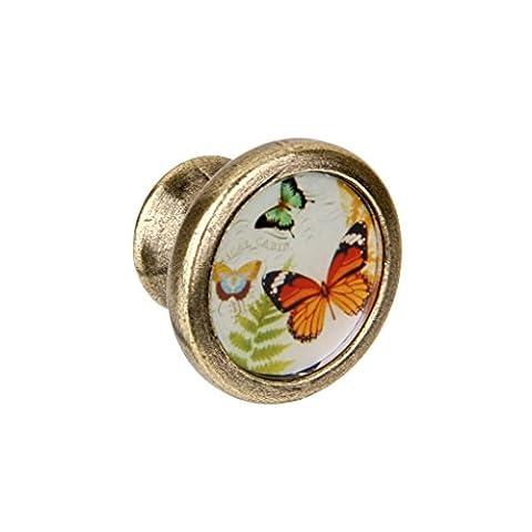 MagiDeal Vintage Cabinet Door Drawer Cupboad Bin Dressser Retro Handle Pull Knob 3 Butterflies