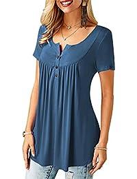 28bc04631d8 Tee Shirt Manche Courte Col V Femme Long T Shirt Manches Courtes Ample Top  Fluide Haut
