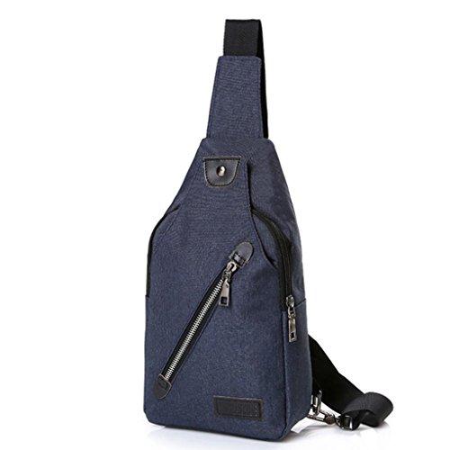 Borsa Toracica Per Uomini,Kword Cool Casual Canvas Outdoor Sport Sbilanciamento Spalla Borsa Zaino Crossbody Sling Bag Navy