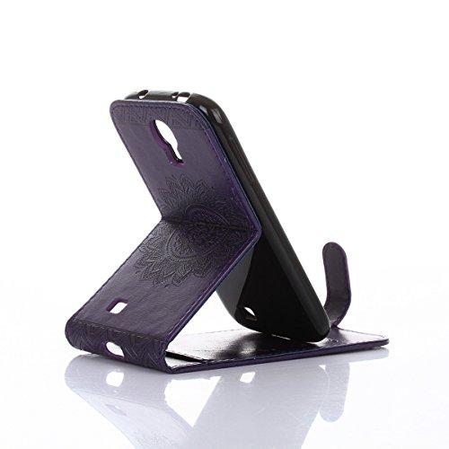 Felfy Coque Etui pour Samsung Galaxy S4,Galaxy S4 Coque Dragonne Portefeuille PU Cuir Etui,Galaxy S4 Etui Cuir Folio Housse Rose Or Tournesol 3D en Relief Motif Leather Case Wallet Flip Protective Cov Flip Violet