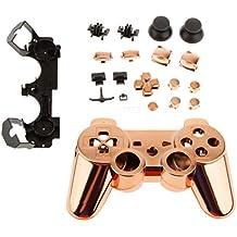 Reemplazo Carcasa Caso Botones Completo Kit de Accesorios para Sony PS3 Controlador Cromo Naranja