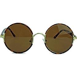 Retro Sonnenbrille Lennon Style rund oversized Vintage Look RL31 (Gold / Tortoise)