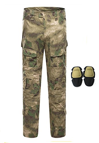 haoYK Combattimento Militare Paintball BDU Pantaloni Tattici Multi Camo Pantaloni Softair Pantaloni Multiuso tascabili con Ginocchiere (ATFG, XL (36))