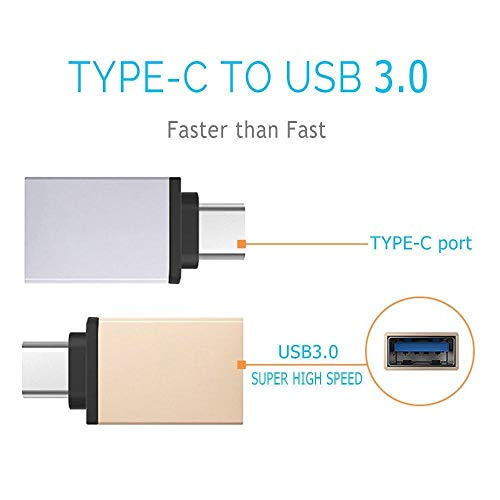 LQCN Adaptador USB OTG 2 en 1 Adaptador Tipo C a Micro USB para Xiaomi mi a1 8 Huawei P20 P10 Zuk Z2 Pro Leeco Le 2 3 Accesorios, Dorado
