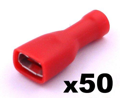 Kabelschuhe x 50 - Flachsteckhülsen Rot - Mit einem Steckmaß von 6,3 mm, Quetschverbinder, Isolierte - Für Kfz, Elektronik und Hobby - KOSTENLOSER VERSAND!