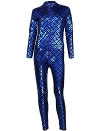 Diizii Escamas de pescadode impresión Cuero Catsuit Jumpsuit af41f367f02b