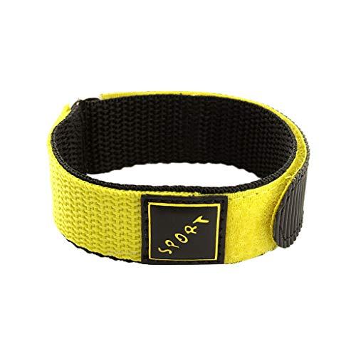 CUEYU Nylon Uhrenarmbänder,Wasserdichtes Leichtes Belüften Nylon Armband,Wrap Around Sport Nylon Uhrenarmband Für Herren Damen,22mm (Gelb)