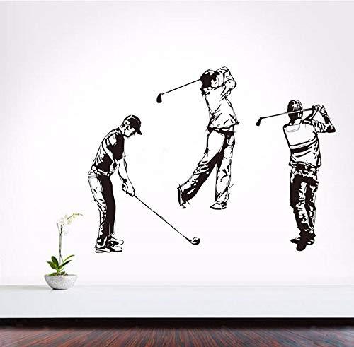 Xzfddn Drei Golfers Selbstklebende Vinyl Skizze Porträt Wandbild Golf Sport Wandaufkleber Jungen Schlafzimmer Diy Dekoration Zubehör