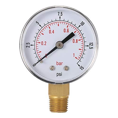 Mini-Niederdruck-Manometer für Kraftstoff Luft Öl oder Wasser 50mm 0-15 PSI 0-1 Bar 1/4 Zoll BSPT TS-50 Doppel-Skala-Messgerät -