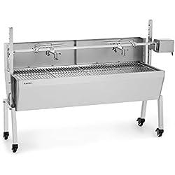 Klarstein Sauenland Pro • Barbecue pour Cochon de Lait • Moteur électrique 15W • Différentes hauteurs • 4 grilles • Protection Contre Le Vent • CrystalSteel • 4 Roues • 2 Freins • Acier Inoxydable