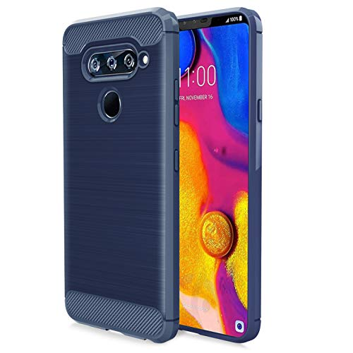 Schutzhülle für LG V40 / LG V40 ThinQ (Verizon Wireless, AT&T) Karbonfaser, weiche TPU, gebürstete Textur, elastisch, Gummi, strapazierfähig, Navy (At Und T Wireless)