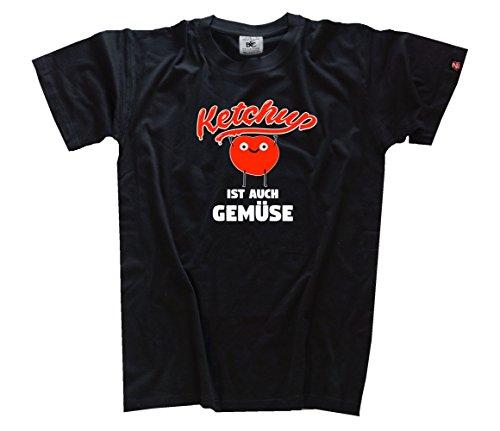 Ketchup ist auch Gemüse Grill BBQ fun T-Shirt Schwarz XXXL