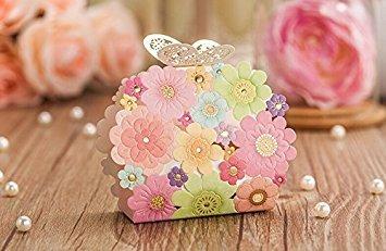 t begünstigt, und Geschenke Box Blume Schmetterling Laser eleganten Luxus Deko Party Event Supplies Papier Candy, Tasche für Gäste ()