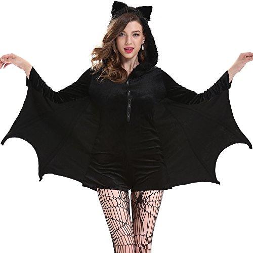 Halloween Kleid In Schwarzes Kostüm (Svance Adult Halloween Party Kostüme Kleid für Frauen und Girls. (XL(CN) = M, Fledermäuse)