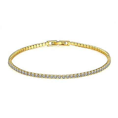 BODYA yellow gold Plated Tennis Bracelet with clear Square Cubic Zirconia Prong Wedding bridal jewelry 8.3