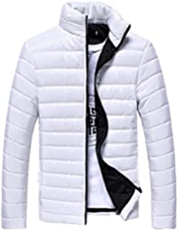 URSING Herren Steppjacke Männer Baumwolle Reißverschluss Warm Winter Dick  Mantel Jacke Basic Strassenmode Sportjacke… b153d72416