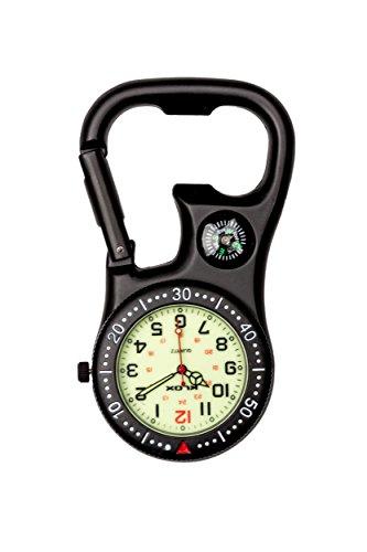 Schwarzen Clip-On Karabiner Taschenuhr mit Kompass für Ärzte Krankenschwestern Sanitäter Köche zusätzliche Batterie