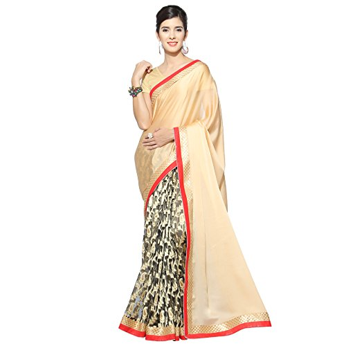 Florence Beige & Black Satin Jacquard Embroidered Saree with Blouse