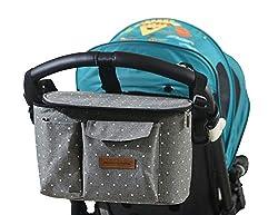Kinderwagen Organizer, Universal Baby Kinderwagen Tasche mit Reißverschluss, Großer Stauraum Buggy Organizer für Spielzeug, Windeln, Trinkflaschen, Handys und andere Babysachen(Grauer Stern)