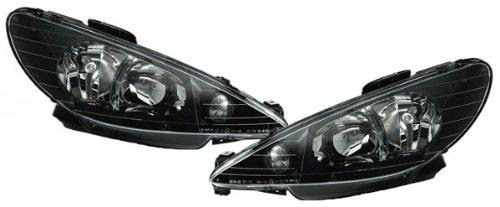 phares design, set 206, de 1998 à 2006 noir H7+H7, pour réglage électrique , ANGEL EYES avec ampoules H7+H7
