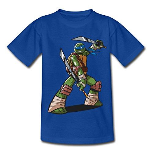 Spreadshirt TMNT Turtles Leonardo Bereit Zum Kampf Kinder T-Shirt, 110/116 (5-6 Jahre), Royalblau (Ninja Schildkröte-mädchen-shirt)