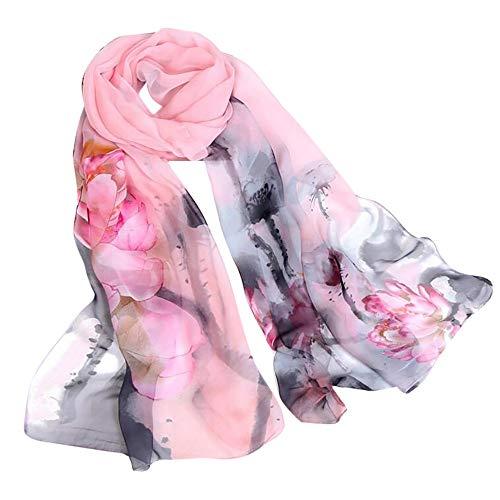 Xmiral Damen Schal Chiffon Lotus Druck lange weiche Wrap Schal Damen Schal Schals