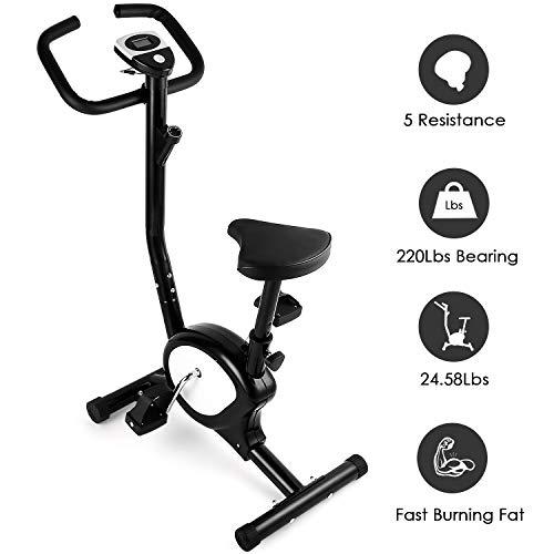 AGM Bicicleta Estáticas, Bicicleta de Entrenamiento de Fitness Resistencia Ajustable, Consumo de calorías, Distancia, Tiempo de Entrenamiento, Velocidad, MAX del Usuario hasta 100 kg