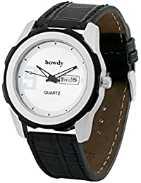 Howdy Smart Analog White Dial Watch With Black Leather Strap With Day And Date - For Men's & Boys Ss539