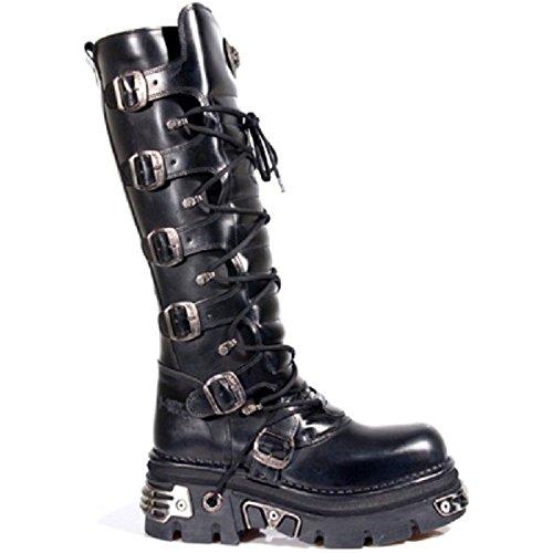 New Rock Unisex Schwarz Metallic Gothic Biker Boots - M.272 Schwarz