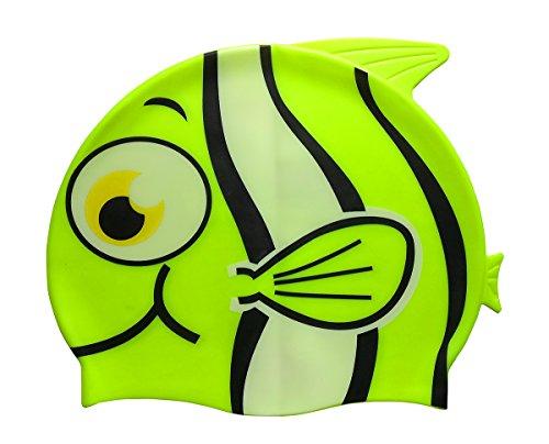 Fontee 1 Stück Silikon-Badekappe Niedlichen Fisch Cartoon Wasserdicht Schwimmkappe Bademütze für Kinder