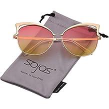 SOJOS Moderne Dicke Rechteckig Sonnenbrille Damen Diamant Groß SJ2053 mit Gold Rahmen/Gold Verspiegelt Linse xZRnf7tbRg