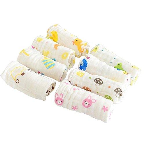 6pcs Muselinas Mantas de Muselina de Algodón Paños de Muselina para Bebés Recién Nacidos Facial Toallitas para Alimentación Lactancia Limpie Mano Rostro (Color aleatorio)